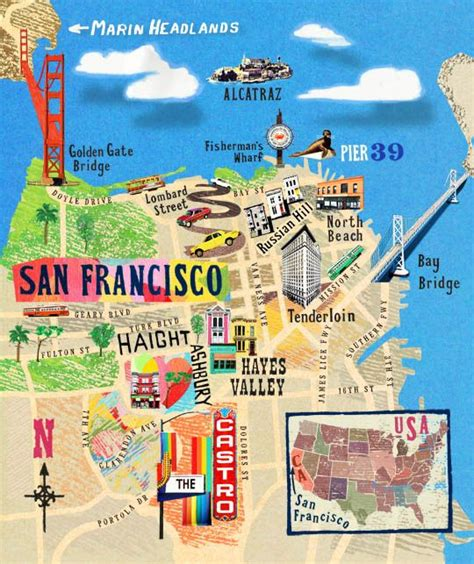 san francisco map attractions 21 gorgeous illustrated maps of san francisco upout