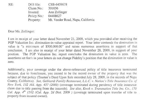 National Insurance Letter J A Review Of Claim Processing And My Lawsuit Against Fidelity National Title Insurance Company