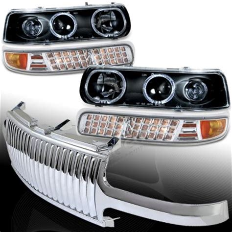 chevy silverado 1999 2002 chrome vertical grille and black projector headlights set