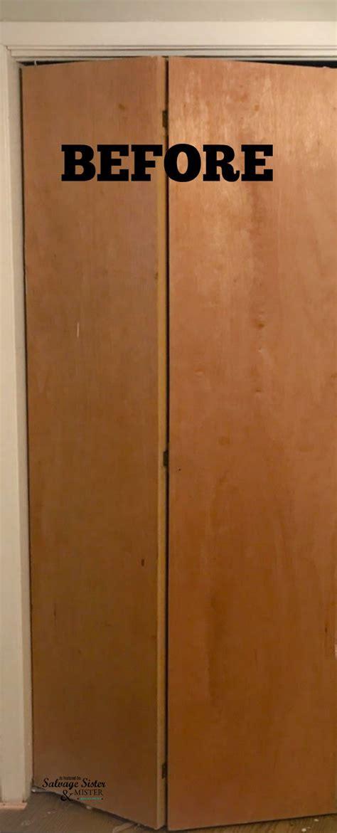 diy bi fold closet doors diy updating bi fold closet doors salvage and mister