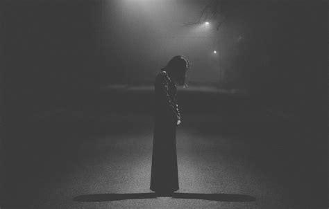 wallpaper light sad dress woman street loneliness
