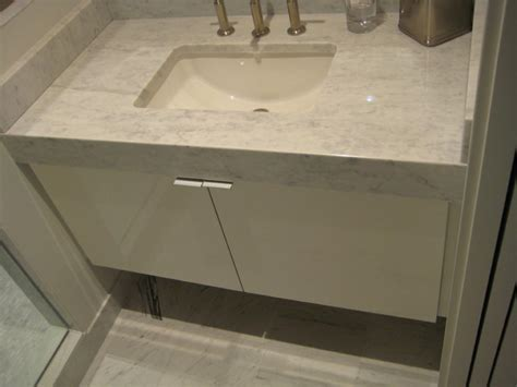 vanity with mitered apron front marble