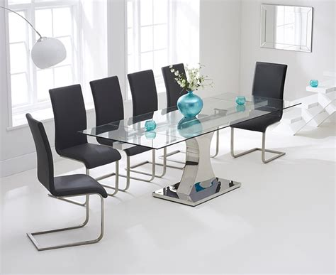 Extending Glass Dining Table And 6 Chairs Harris 160cm Glass Extending Dining Table With 6 Malibu Grey Chairs Harris