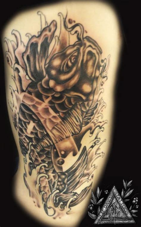 tattoo black and grey koi koi fish by jeff davis sr tattoos