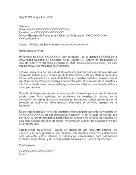 carta de solicitudde beca carta solicitud beca maestria