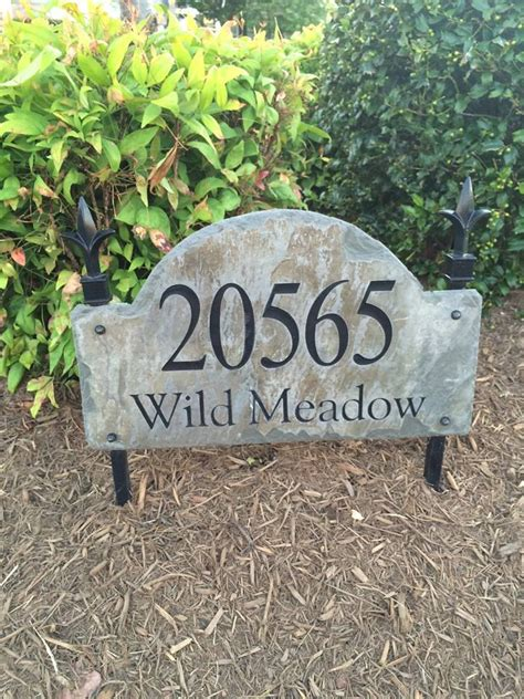 Address Plaques For Yard - address marker plaque lawn stake carved arched slate