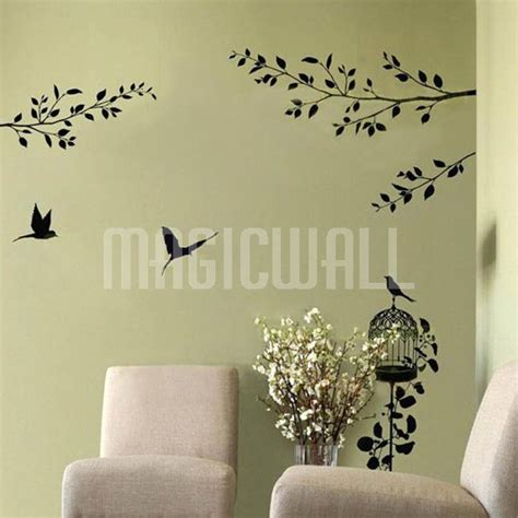 branches wall stickers wall decals birdcage birds branches wall stickers