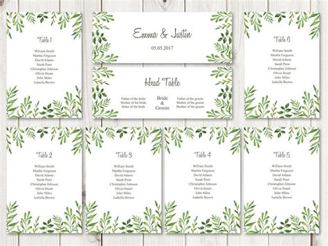 Watercolor Wedding Seating Chart Template Quot Lovely Leaves Quot Green Diy Printable Seating List Table List Wedding Template