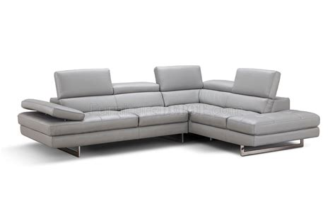 light grey sectional sofa aurora sectional sofa in light grey premium leather by j m