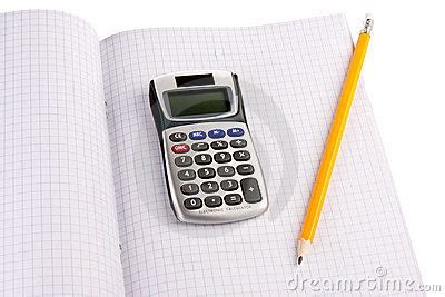 calculator x squared calculator with pencil on squared paper royalty free stock