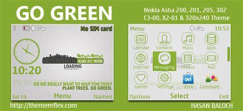 nokia c3 themes green go green theme for nokia c3 00 x2 01 asha 200 201 205