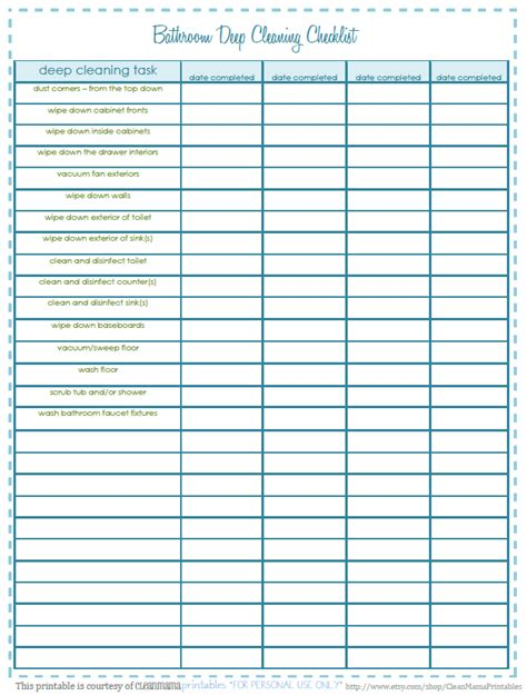 Freebie Bathroom Deep Cleaning Checklist Clean Mama