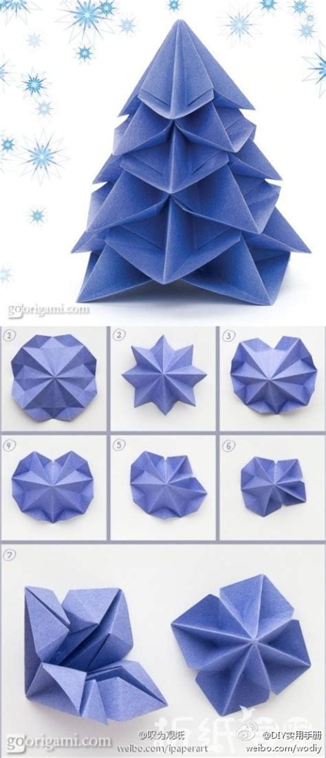 how to make paper craft origami christmas trees step by