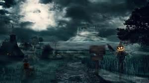 castles trees dark halloween moon hills scarecrow