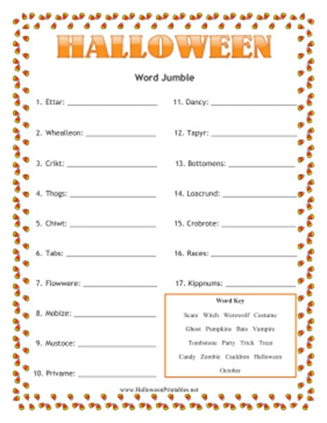 free printable halloween word games for adults halloween word jumble