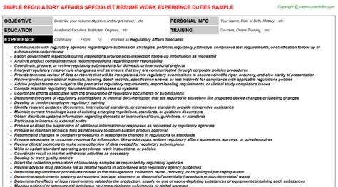 regulatory affairs resume sle regulatory affairs resume sle 28 images regulatory