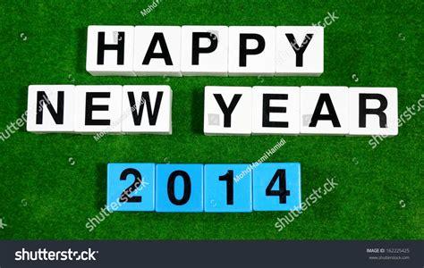 happy new year words in happy new year 2014 words with block letters stock photo