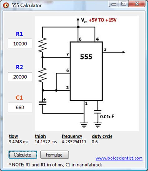 555 timer resistor value calculator 555 calc release v1 0 xtronic