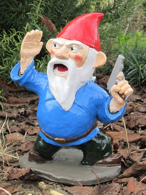 garden gnomes combat garden gnome officer with pistol