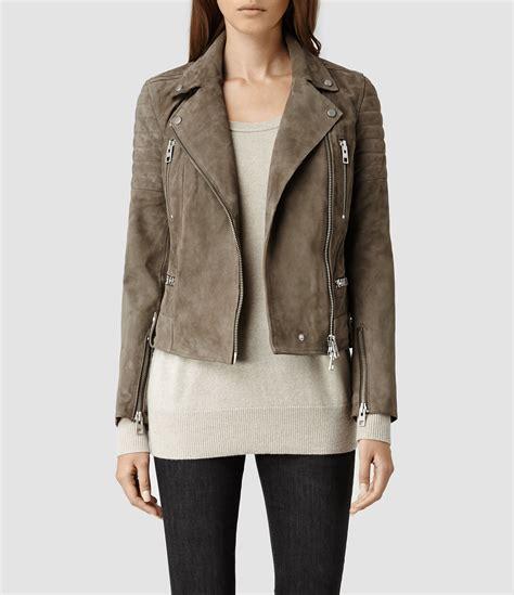 allsaints huxley leather biker jacket in gray lyst