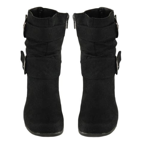 black toddler boots flat slouch knee high suede buckle boots black sz 9