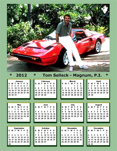 Tom Selleck Calendar Magnum P I Images 2012 Tom Selleck Magnum