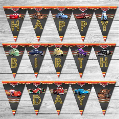 disney cars happy birthday banner printable disney cars birthday banner chalkboard lightning mcqueen