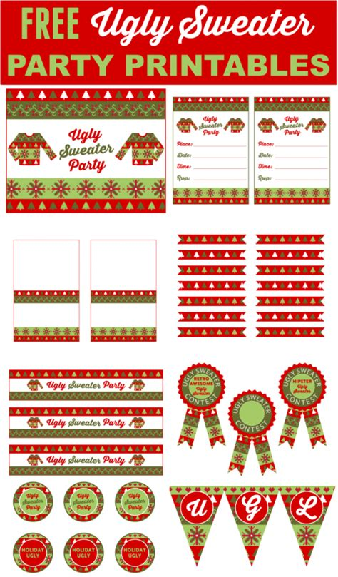 ugly aka cute sweater party printables printabelle