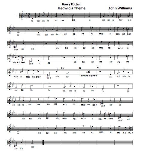 testo sigla note musica e spartiti gratis per flauto dolce harry potter