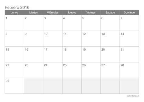 Calendario Febrero 2016 Calendario Febrero 2016 Para Imprimir Icalendario Net