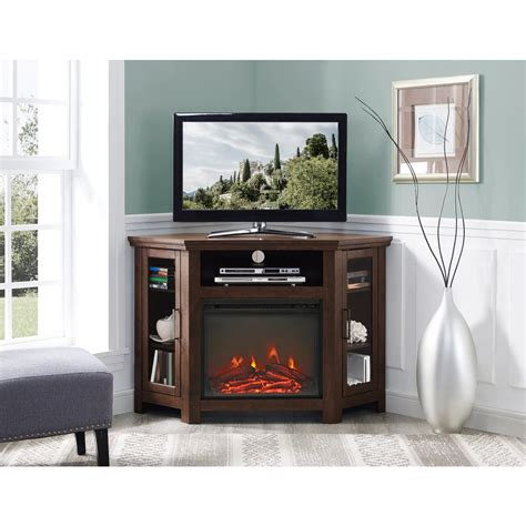furniture fireplace entertainment center walker edison furniture company traditional brown