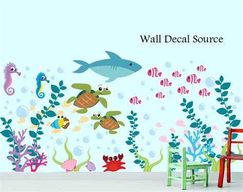 the sea wall stickers aquarium wall decal the sea oceanic wall decal