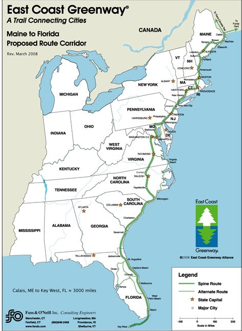 east coast in usa map map of east coast usa and canada
