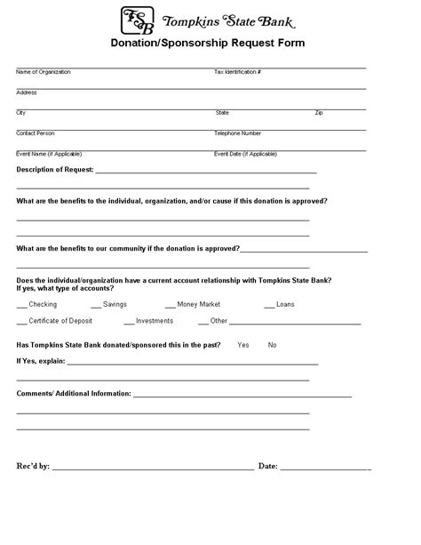sponsorship donation form template form donation and sponsorship form