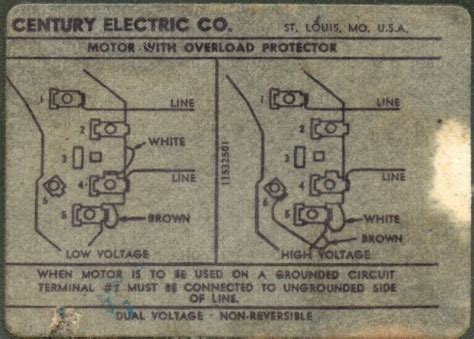 century electric motor wiring diagram emerson electric