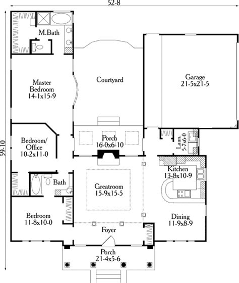 u shaped houses 2 bedroom house plan 40027
