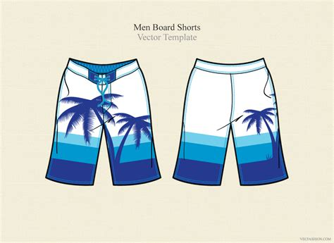 Men Board Shorts Vector Template Illustrations On Creative Market Board Shorts Template