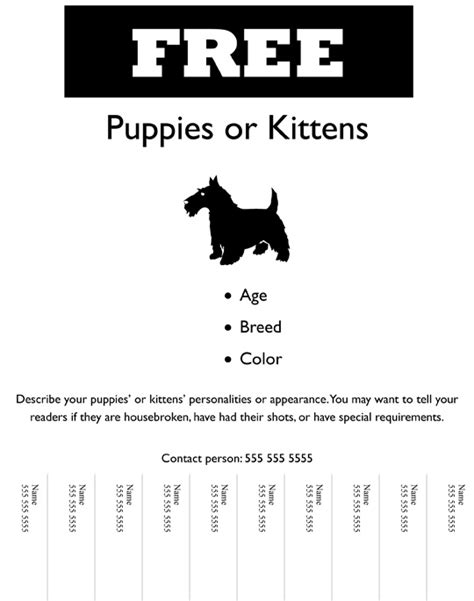 Flyer Animalfeasance Template For Flyer With Tear Strips