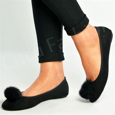 Sandal Wedges Oshin Flat Pompom Orin new womens flat pom pom ballerina dolly pumps slip