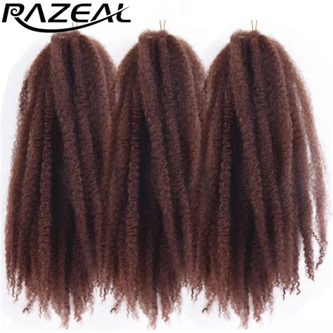 ombre synthetic braiding hair razeal 5packs afro kinky marley braids hair crochet braids