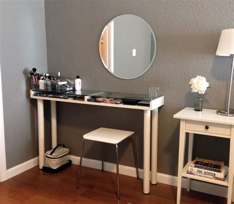 Glass Makeup Vanity Table Custom Corner Makeup Vanity Table With Makeup Storage Glass Top Table With Wall Mounted