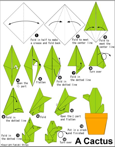 Origami Cactus - cactus easy origami for