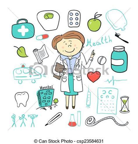 imagenes vectores salud vectores de mujer ilustration doctor garabato iconos