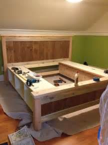 Platform Bed With Storage Cubbies Bed Frame Plans Drawers Woodworking Projects Plans