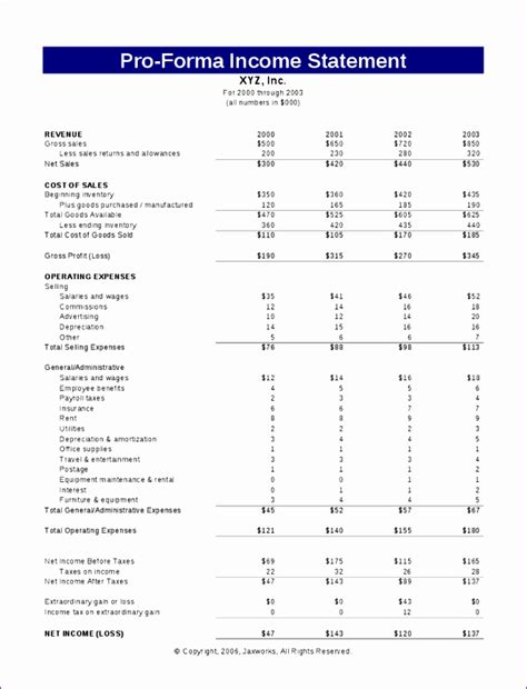 pro forma projections template 10 pro forma financial statements template excel