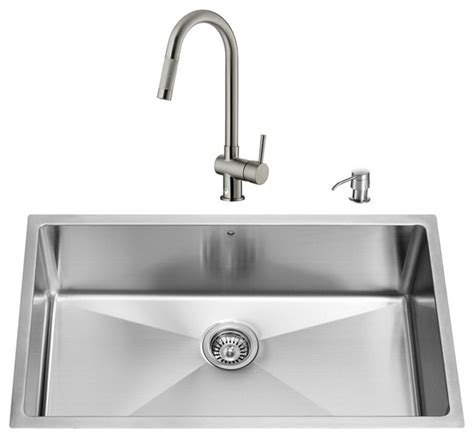 Modern Undermount Kitchen Sinks Vigo All In One 32 Quot Undermount Stainless Steel Kitchen Sink And Faucet Set Modern Kitchen
