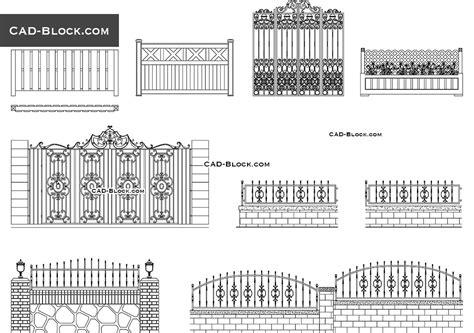 Gates & Fences desings AutoCAD blocks free download, CAD