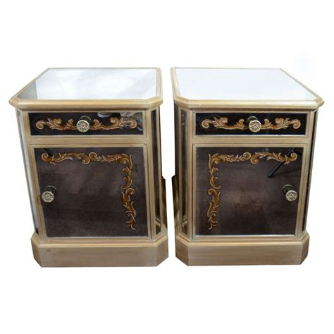 hollywood mirrored accent pair of 1940 s hollywood mirrored end night stands