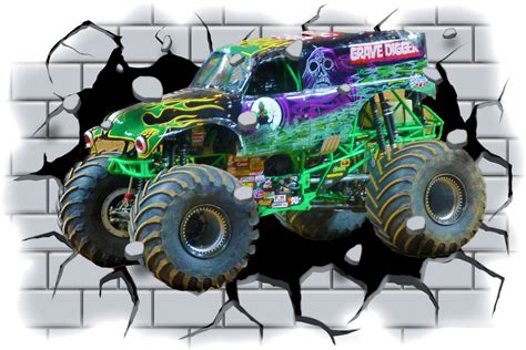 grave digger truck poster 3d grave digger truck through wall view wall