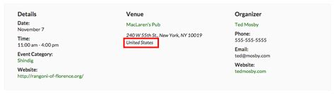 remove country from address field the events calendar